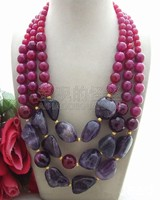 N042902 19 24 red purple onyx crystal stone Necklace
