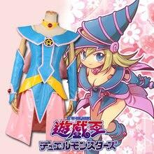 Yu-gi-oh negro Magic Woman negro Dark Magician Girl todos los santos uniforme del juego de vestido Cosplay Anime Costume cualquier tamaño
