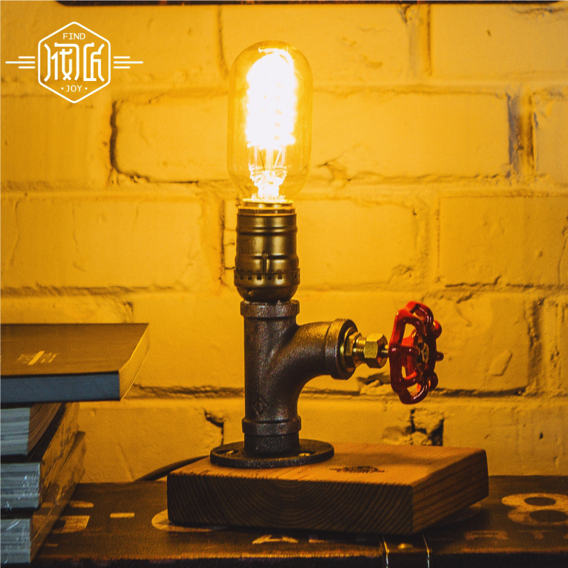 Creative Wood Water Pipe VIntage Table Lamps For Bedroom Loft Industrial Beside Lamp Tischlampe Lamparas Luminairas De Mesa american led vintage desk table lamp for bedroom living room led beside lamps lampara luminaira de mesa abajur para quarto