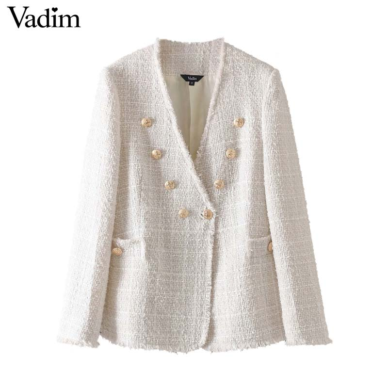 Vadim Women Elegant Coat Double Breasted V Neck Buttons Jacket Office Wear Female Casual Outwear Top Blusas CA420