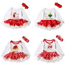 Baby's First Christmas Pettiskirt Tutu Dress Cotton Romper Toddler Girls Outfit