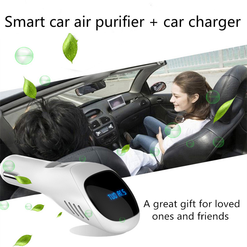 Air Purifier Air Freshener DC12V Mini Dual USB Car Charger Auto Car Fresh Air Negative Ionic Oxygen Bar Ozone Ionizer Cleaner