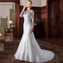 Vintage Mermaid Wedding Dress vestidos de novia 2019 Embroidery Appliques White Long Sleeve Dresses robe mariee