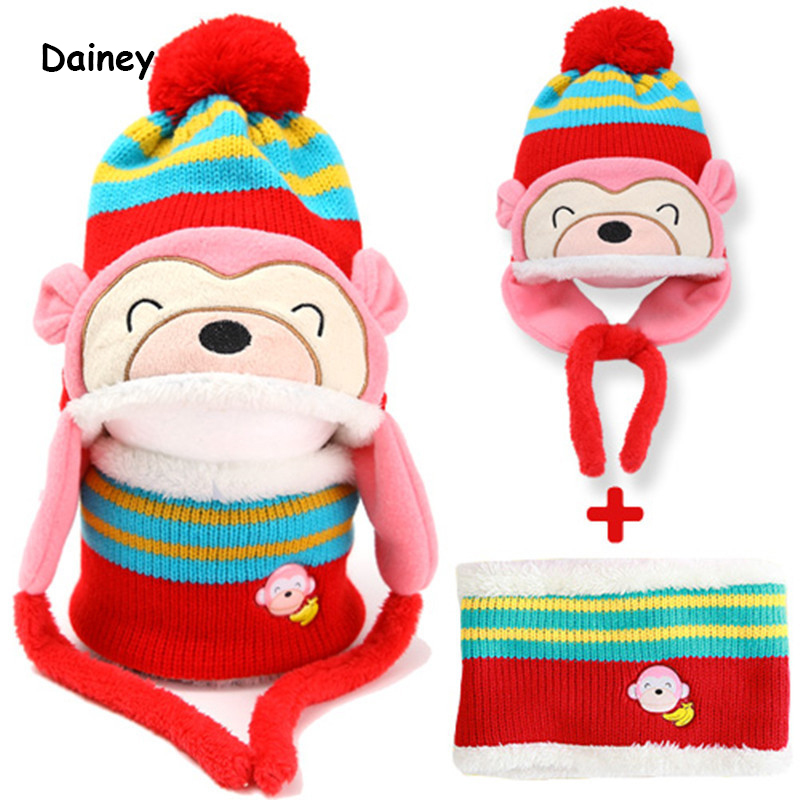 Lovely Kids Baby Winter Hat Christmas Gift Warm Kid Babies Girl Boy Ear Thick Knit Beanie Cap Beanies Hats Accessories BMZ08