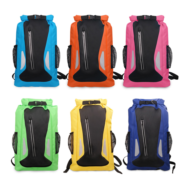 PVC 25L Outdoor Waterproof Backpacks Dry Bag Camping Hiking Drifting Swimming Bags Double Shoulder Strap