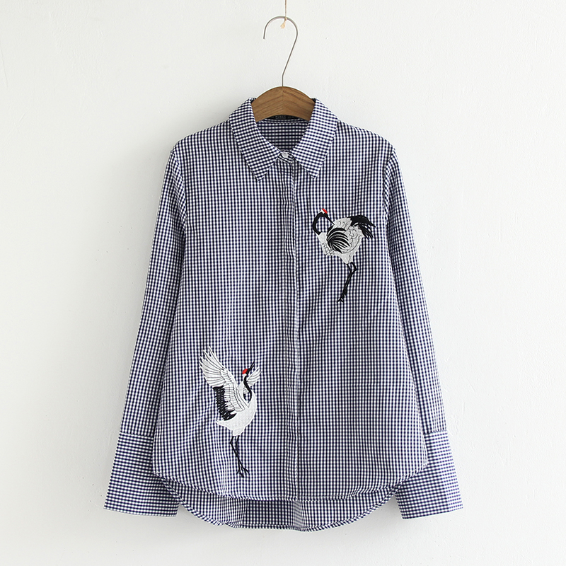 2018 Women Black plaid shirt bird Embroidery long Sleeve female shirts Casual Loose Female fashion cotton poly drop shipping ...