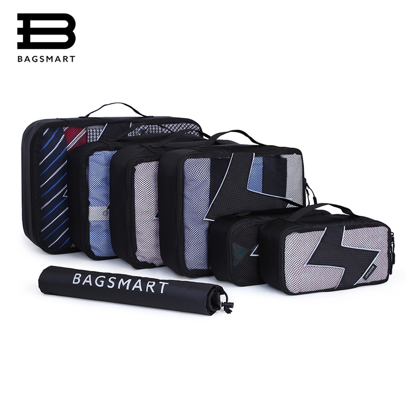 BAGSMART 7 Pcs Set Packing Cubes - Travel Organizers with Laundry Bag Travel Bags Luggage Packing Organizers bagsmart 7 pcs set packing cubes travel luggage packing organizers unisex weekend luggage bag travel organizers with laundry bag