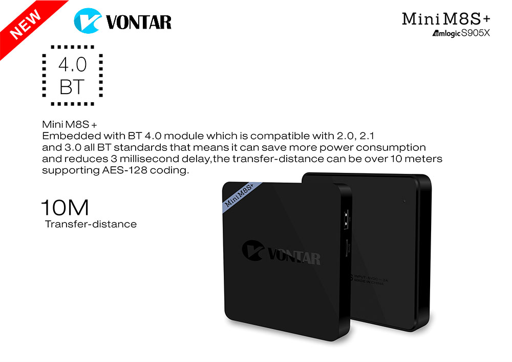 5pcs [Genuine] VONTAR Mini M8S+ 2G/8G Amlogic S905X Android 6 0 Quad TV Box  2 4G WiFi BT4 0 H 265 4K MiniM8S Plus-in Set-top Boxes from Consumer