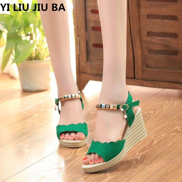 Wedge Shoes Women Sandals Open-Toe High-Heels Summer Casual Mujer--023 Dress Party
