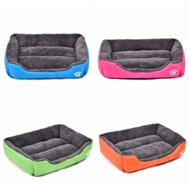Multi-Color Pet Dog Bed Soft PP Cotton Padded Puppy Cat Sofa Bed Warm Pet Cushion Rectangle Cat Dog Mat Waterproof Pets House