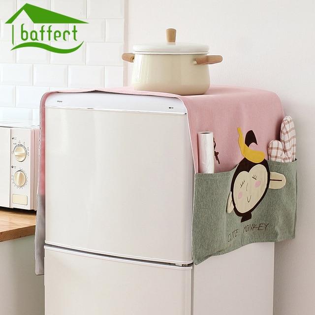 Cartoon Bear Monkey Shape Animal Dual Purpose Linen Dust Cover Proof Kitchen  Washing Machine Refrigerator