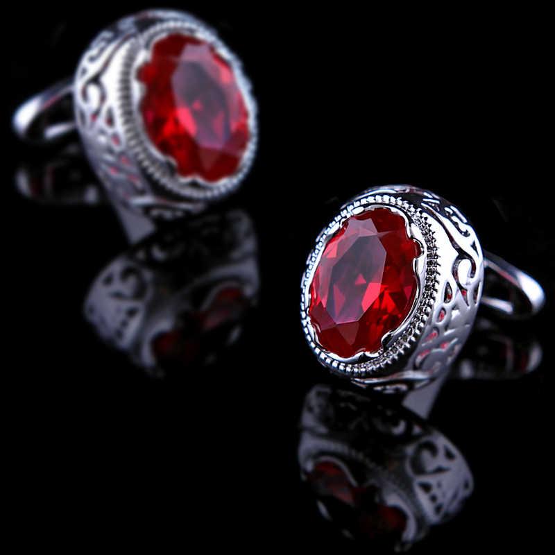 KFLK 2019 jóias botão de camisa botão de punho para o presente dos homens Da Marca do manguito abotoadura de Alta Qualidade abotoaduras Jóias de casamento de Cristal Vermelho
