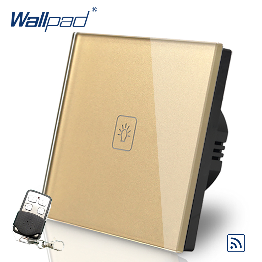 цена на Luxury 1 Gang Remote Eu European Switch 110V-240V Wallpad Glod Glass LED 1 Gang Touch Remote Control Switch EU Free Shipping