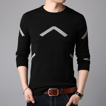 2018 autumn new mens sweater fashion casual Korean version of slim fit pullover t - neck shirt