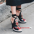 Brand New T-Show Luxury Woman Gladiator Sandals Female Peep Toe Flower Party Thin High Heels Sandals Shoes Woman