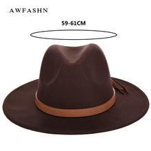 93888d9d102f0 New Fashion Solid Color Autumn and Winter Men s Fedora Hat Wool Leather  Male Vintage Classical Sombrero