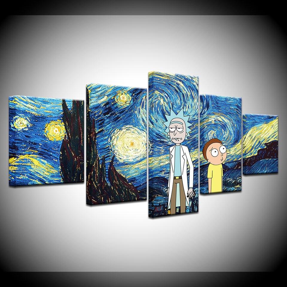5panel Hd Printed Starry Night Van Gogh Wallpaper Anime Print On