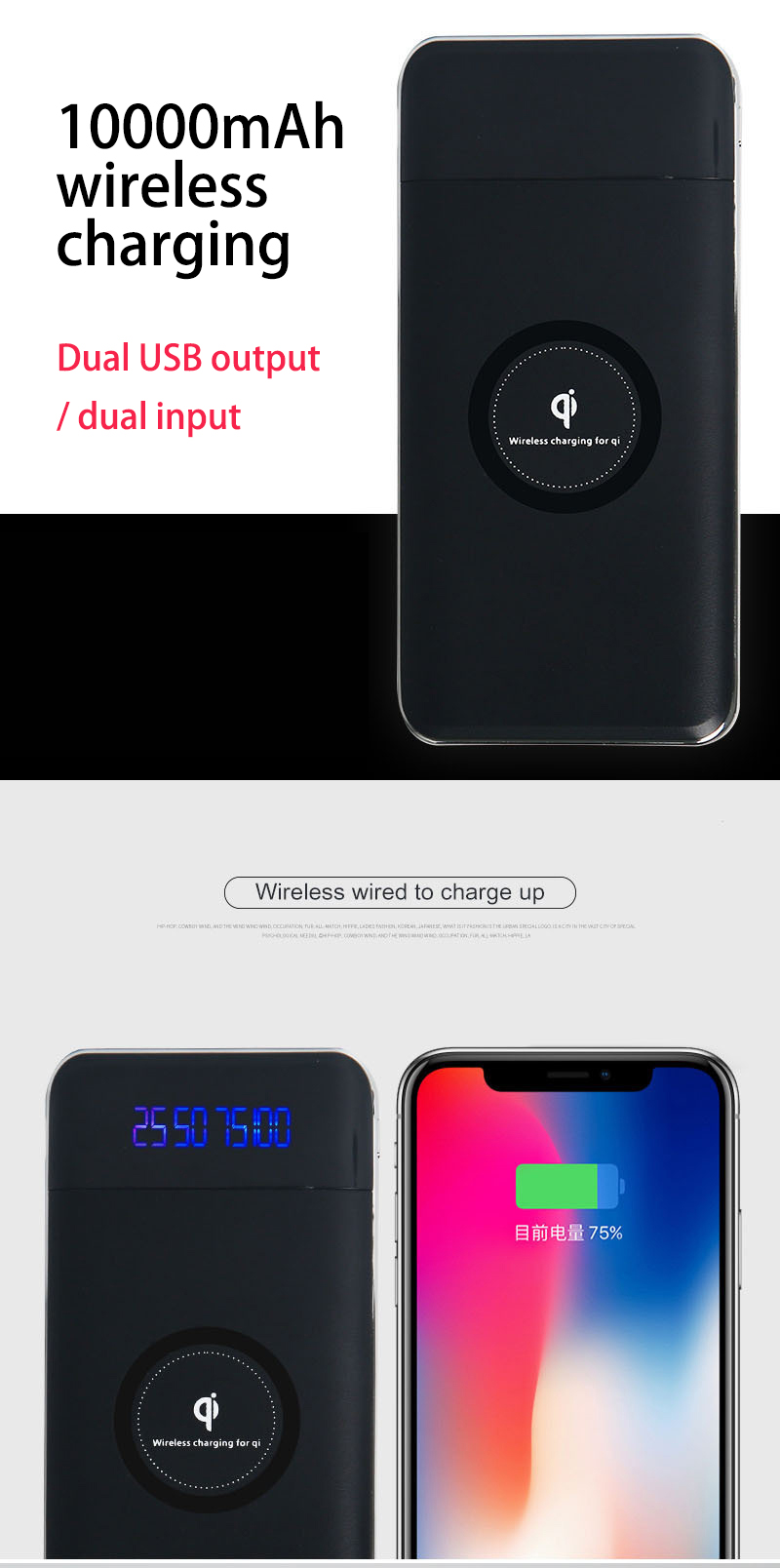 Wireless Charger Power Bank 10000mah Portable Dual USB with Digital Display External Battery Powerbank For iphone X 8