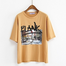 Summer T-shirt Shirt Women Lady Top Cotton Female Clothing Blank letters Printed Graphic Cute T-shirts For