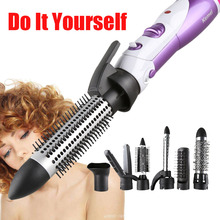 Kemei 7 In 1 Multifunctional Hair Curler Roller Hair Hairdressing Straightener Electric Hair Dryer Curling Iron EU 220V Plug kemei 3d floating panel hair curling iron eu plug straightening irons electric hair straightener flat iron hair curler page 7
