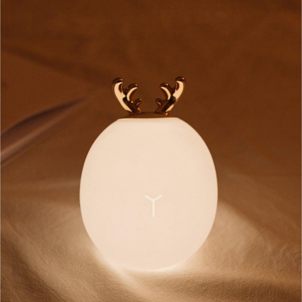 1 W Cartoon Leuke Herten Bunny Siliconen Led Nachtlampje Usb Opladen Touch Sensor Licht Aaien Sfeer Tafellamp Door Wetenschappelijk Proces