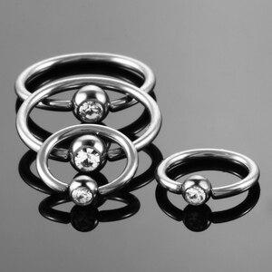 Image 5 - 50 stks/partij G23 Titanium Captive Bead Ringen CBR met Clip Gem Bal Nep Piercings Neus Oorbel Tragus Tepel Ringen Body sieraden