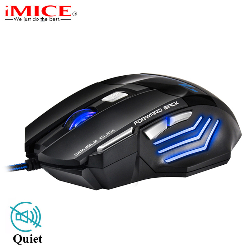 Silent/Sound USB Wired Gaming Mouse Professional 5500DPI 7 Buttons LED Optical Cable Computer Mouse Gamer Mice for LOL CSGO Dota image