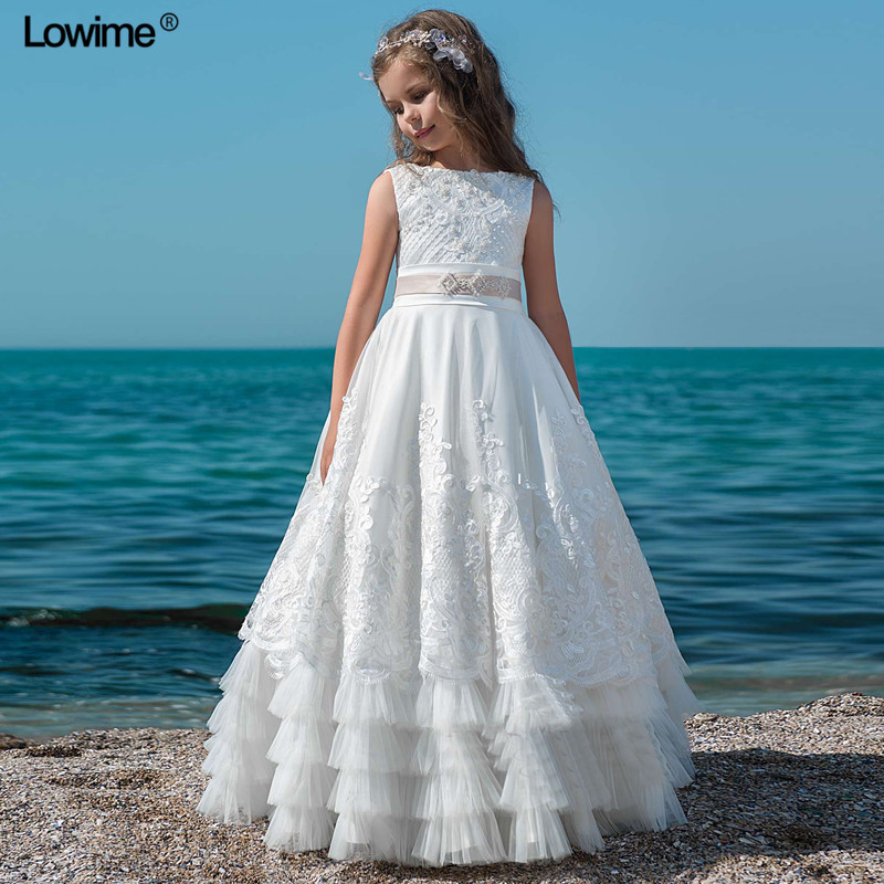 New White Lace Flower Girl Dresses With Pearls Sleeveless First Communion Dresses For Girls Christmas Party
