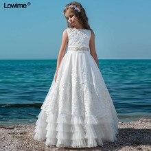 Новые белые кружевные платья с цветочным узором для девочек с жемчугом; платья без рукавов для первого причастия для девочек; платья для рождественской вечеринки на заказ