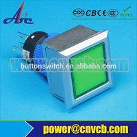 2227Z Latching 22mm industrial waterproof square plastic switch economical 12v green illuminated push button switch
