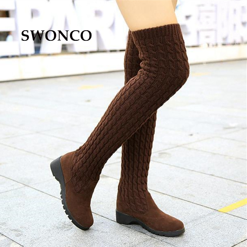 SWONCO Women's High Boots 2018 Autumn Winter Knitting Wool Ladies Shoes Thigh High Boots For Women Long Boot Wedges Woman Boot