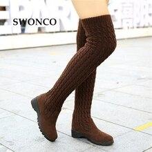 Swonco botas altas das mulheres 2018 outono inverno tricô lã senhoras sapatos coxa botas altas para mulheres longas cunhas bota mulher bota