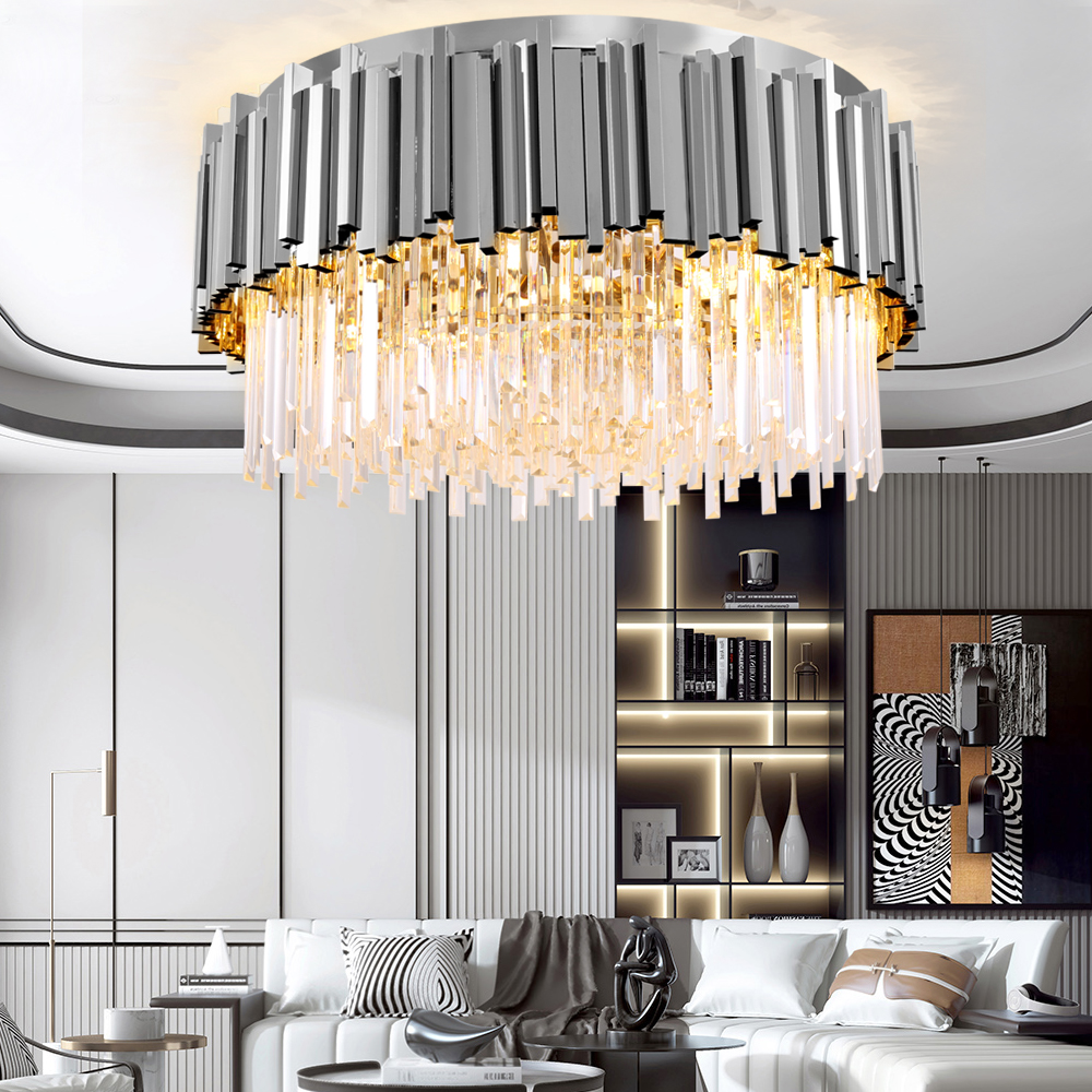 Image 3 - Youlaike Round Gold Crystal Chandelier For Ceiling Luxury Modern Bedroom LED Lustres De Cristal Home Indoor Lighting Fixtures-in Chandeliers from Lights & Lighting