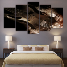 Modular Home Decor Canvas Wall Art Pictures 5 Panel Musical Instruments Guitar Printed Modern HD Living Room Paintings Posters