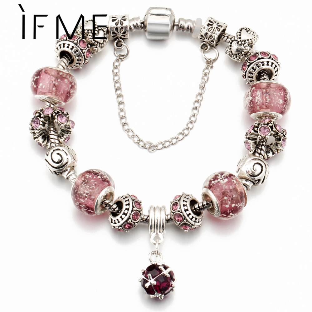 IF ME Vintage DIY Crystal Glass Bracelets For Women