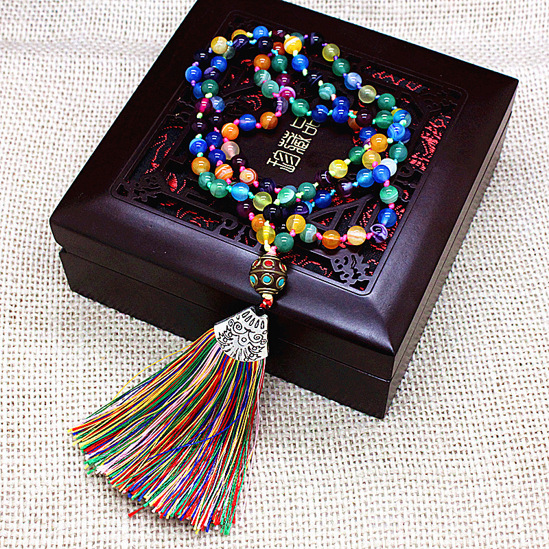 Ethnic Beads Mala Colorful Natural Stone Nepal Charm Long Tassel Necklace Women Meditation Necklace Knotted Bead Yoga Necklace long bead necklace ocean grass bead necklace boho natural stone necklace gift for her yoga