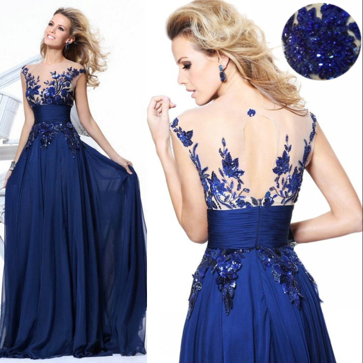 Most Beautiful Real Photo Evening Gowns Royal Blue Chiffon