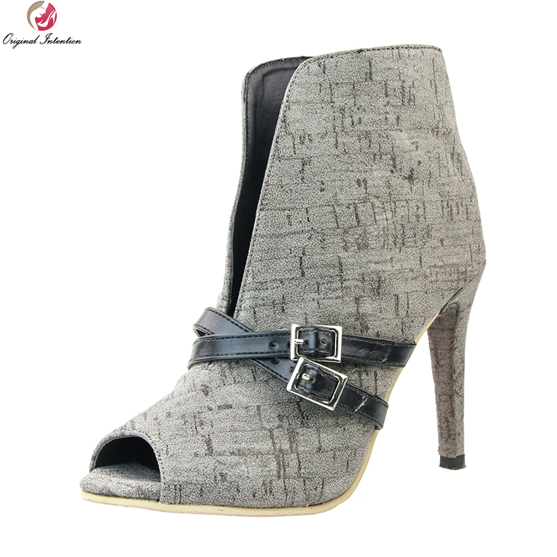 Original Intention Stylish Women Ankle Boots Sexy Peep Toe Thin High Heels Boots Elegant Grey Shoes Woman Plus US Size 4-15 цены онлайн