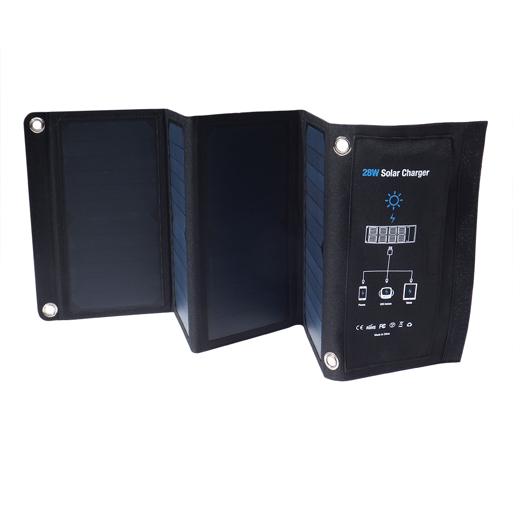 Three USB Ports Solar Charger 28W Panel Portable Fast charger Solar Power Bank Universal Solar Cell For iPhone Xiaomi Phones 10000mah dual usb output ports universal light solar mobile power bank charger for cellphone tablet