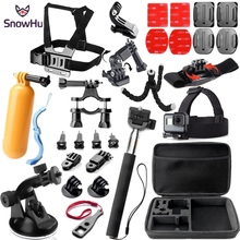Купить с кэшбэком SnowHu for Gopro Accessories Set for go pro hero 7 6 5 4 3 kit selfie stick for Eken h8r / for xiaomi for yi 4K EVA case GS32