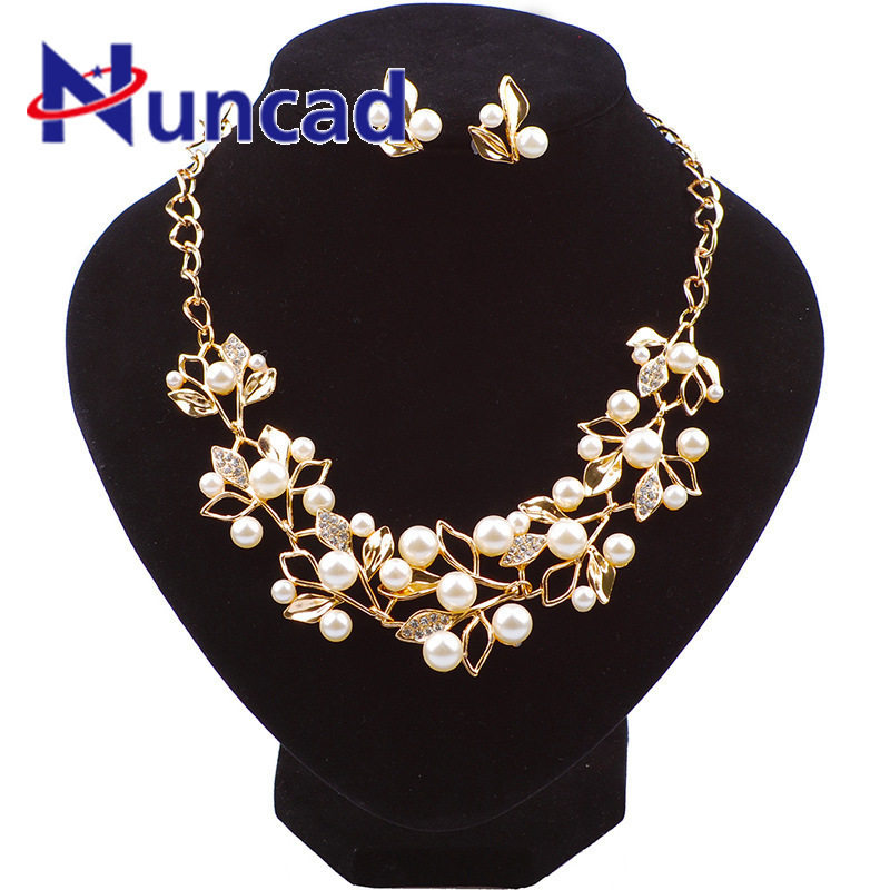 Elegant Simulated Pearl Bridal Wedding Jewelry Sets Gold Silver Plated Leaf Crystal Necklaces Earrings Sets Jewelry Accessories