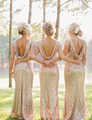 Women's Mermaid Bridesmaid Dresses Sparkly Rose Gold Cheap Vestido Sequins O-neck Sexy Backless Long Bridal Bridesmaid Gowns