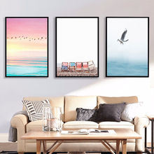 цена на Nordic Poster Black White Wall Art Sea Bird Canvas Painting Posters And Prints Wall Pictures For Living Room Home Decor