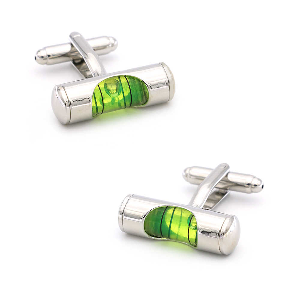 Men's Spirit Level Cuff Links Copper Material Green Color