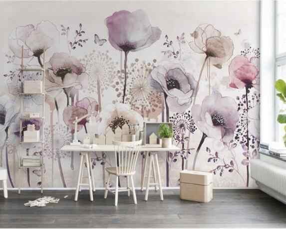 Papel tapiz de individualidad estético acuarela pintado a mano estilo floral lila papel de fondo de TV de pared de papel