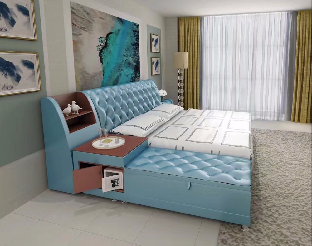 post modern real genuine leather bed / soft bed/double bed king/queen size bedroom home furniture with storage box and sideboard designer modern real genuine leather bed soft bed double bed king queen size bedroom home furniture american style
