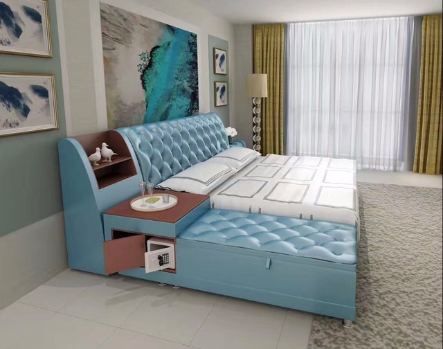 buy post modern real genuine leather bed. Black Bedroom Furniture Sets. Home Design Ideas