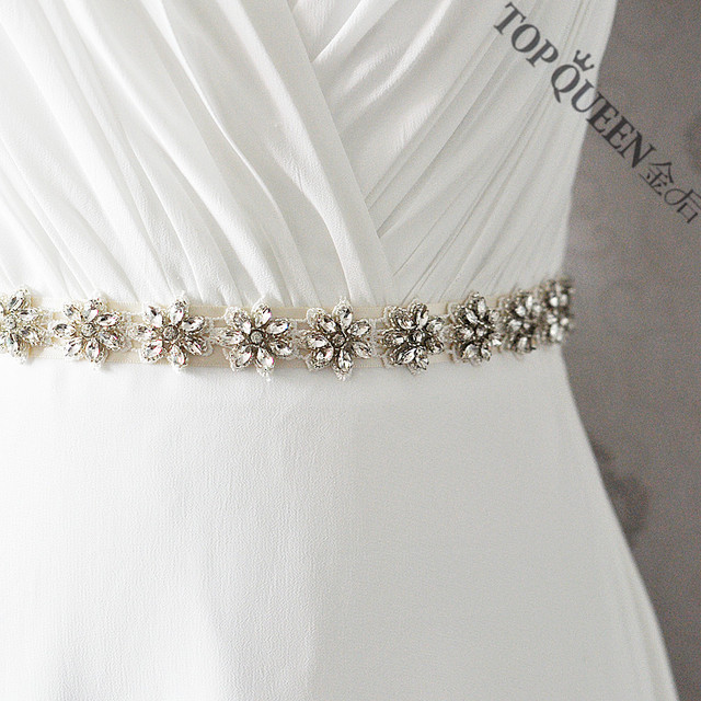 TOPQUEEN Women's S163 Crystals Rhinestones Wedding Evening Party Gown Dresses Accessories Bridal Bride Bridesmaid Belts Sashes
