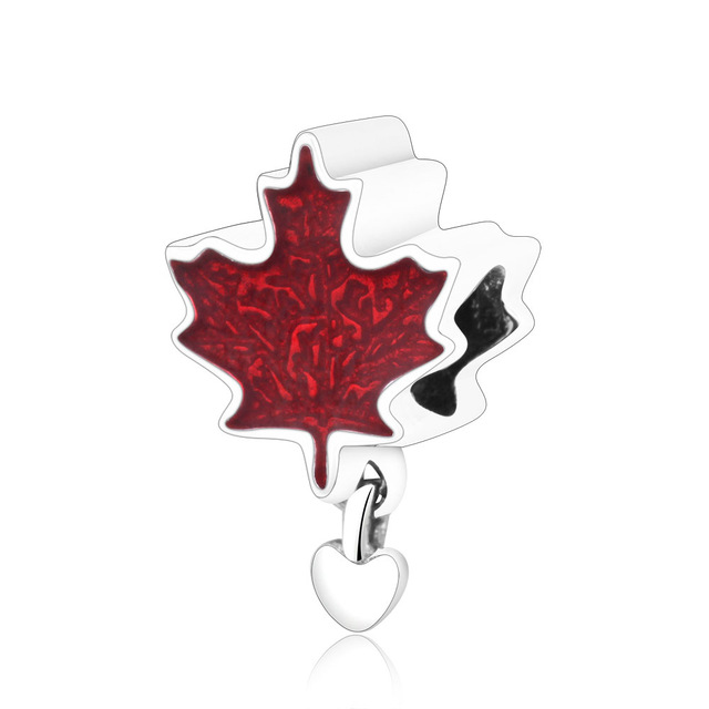 ce5d0e80d Neastamor 925 sterling Silver Canada Maple Leaf Pendant Beads Charm Fit  Pandora Charms Bracelets DIY Silver