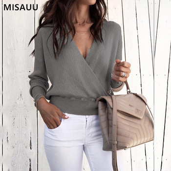 цены MISAUU 2018 Autumn Winter Sweater Women Sexy V Neck Long Sleeve Loose Knitting Pullovers Sweaters Fashion Female Casual Tops